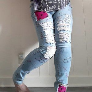 Refashioned blue distress patchwork skinny jeans
